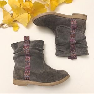 TOMS   Girls Tribal Style Gray Booties Size 12